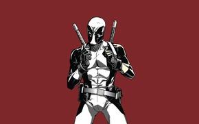 Картинка красный, Deadpool, Дэдпул, катаны, comics, MARVEL, Уэйд Уилсон