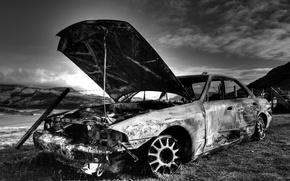 Обои старый, автомобиль, burnout, сгоревший, Old auto