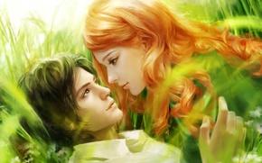 Картинка девушка, рисунок, арт, парень, art, dream world of romance