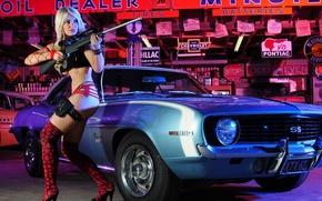 Картинка car, gun, sexy, blonde