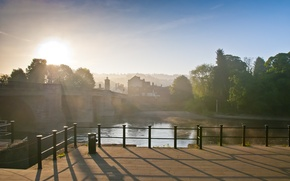 Картинка мост, город, река, утро
