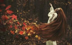 Картинка осень, листья, девушка, волосы, ситуация