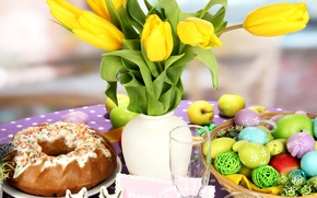 Картинка цветы, весна, пасха, тюльпаны, flowers, выпечка, tulips, spring, кекс, Easter, holiday, egg