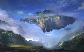 Картинка пейзаж, горы, остров, арт, летающий, Sergey Zabelin