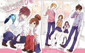Картинка девушки, коллаж, аниме, арт, парни, школа, Kokuhaku Jikkou Iinkai
