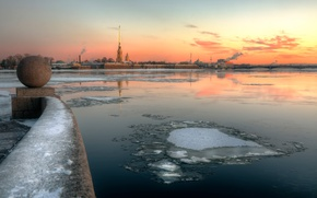 Обои зима, река, утро, мороз, Санкт-Петербург, 2015, Дворцовый округ, 29 декабря