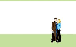 Картинка девушка, арт, мужчина, Doctor Who, Доктор Кто, Десятый Доктор, Tenth Doctor, Rose Tyler, Роза Тайлер