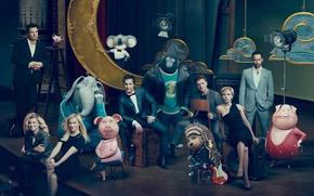 Обои Scarlett Johansson, cinema, man, movie, gorilla, Ash, film, elephant, animated film, Johnny, pig, cast, Universal ...