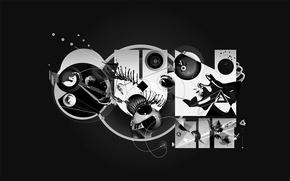 Обои черно-белая, круги, дизайн