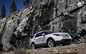 Обои Ford Explorer 2011, форд, белый, скалы