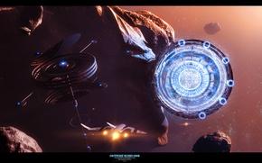Картинка космос, звёзды, астероид, Outpost Echo One, Wip Omega Station