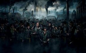 Картинка борода, трость, шляпы, убийцы, порт, банда, Биг-Бен, дым, толпа, оружие, ассасины, дома, улыбка, Assassin's Creed: ...