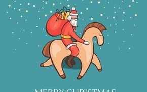 Картинка снег, новый год, рождество, подарки, дед мороз, лошадка