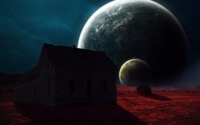 Картинка космос, дом, планеты, арт, abikk