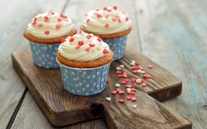 Картинка выпечка, десерт, dessert, сердечки, сладкое, sweet, cupcake, roses, пирожное, кекс, love, heart