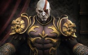 Картинка skull, sword, demigod, horns, Kratos, God of War, lion, general, man, face, wolf, dragon, captain, …