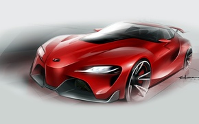 Картинка рисунок, эскиз, Toyota, тойота, FT-1