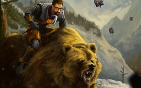 Картинка лес, медведь, Half-Life, fan art, Gordon Freeman