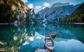 Обои озеро Брайес, горы, Италия, отражение, вода, озеро, лодки