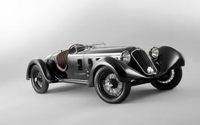 Картинка ретро, фон, Alfa Romeo, передок, Альфа Ромео, 1929, 1750