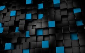 Обои рендеринг, чёрные, кубы, кубики, синие, 3d графика