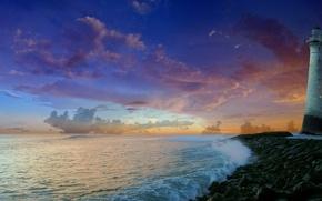 Обои море, природа, маяк