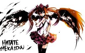 Картинка магия, крылья, чулки, галстук, белый фон, блузка, Touhou Project, Проект Восток, Hatate Himekaidou, nouhou
