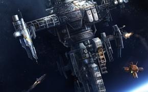 Картинка корабль, планета, спутник, станция, арт