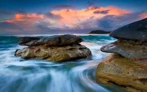 Картинка море, небо, облака, закат, камни, скалы