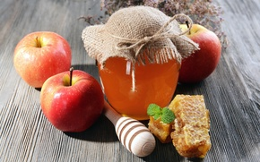 Картинка яблоки, соты, мед, банка