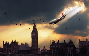 Обои самолет, Лондон, опасность, падение
