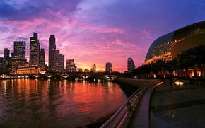 Картинка ночь, city, дома, Сингапур, высотки, Singapore, здания., cities, naght
