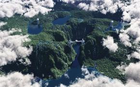 Картинка облака, холмы, вид, шар, высота, башни, статуя, водопады, реки, озёра, рендер