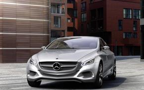 Картинка дорога, машина, здания, Авто, concept, Mercedes Benz, f800