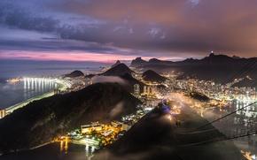 Обои Бразилия, горы, Атлантический океан, освещение, purple, побережье, city, город, огни, sunset, вечер, холмы, Brasil, sky, ...
