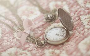 Картинка макро, свет, время, рисунок, часы, размытость, ткань, украшение