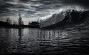 Обои небо, шторм, стихия, волна, яхта