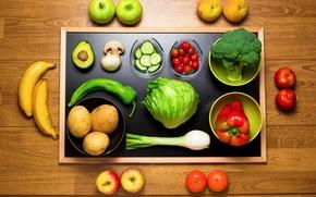 Картинка огурец, банан, orange, яблоко, mushrooms, tomato, cabbage, peach, vegetables, pepper, грибы, помидор, персик, капуста, apple, …