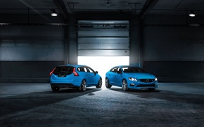 Картинка лампы, голубой, фары, гараж, седан, volvo, вольво, универсал, v60, в60