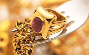 Картинка золото, кольцо, украшение, вилка, цепочка, рубин