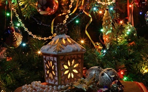 Картинка украшения, праздник, игрушки, елка, фонарь