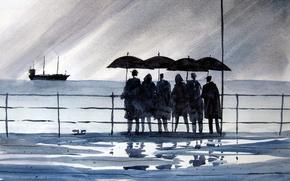 Картинка море, люди, картина, акварель