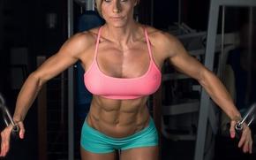 Обои fitness, abs, Sarah-Banner