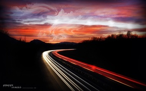 Обои дорога, Автобан, Огни, Ночь