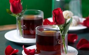 Обои любовь, чай, романтика, настроения, роза, розы, лепестки, чашки, love, rose, напитки, нежно, гармония, праздники, harmony, ...