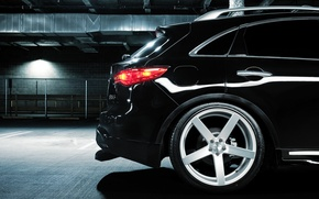 Картинка rear, black, Infiniti, FX 35 S, парковка, инфинити, Vossen