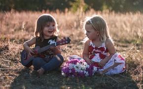 Картинка дети, настроение, гитара, мальчик, девочка