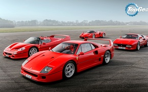 Картинка Top Gear, Ferrari, Red, F40, Sky, Grass, Enzo, Front, Supercars, Track, Italian, F50, 288 GTO