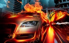 Обои пламя, авто, скорость, огонь