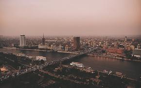 Картинка cars, bridge, Egypt, fog, downtown, Cairo, Nilo